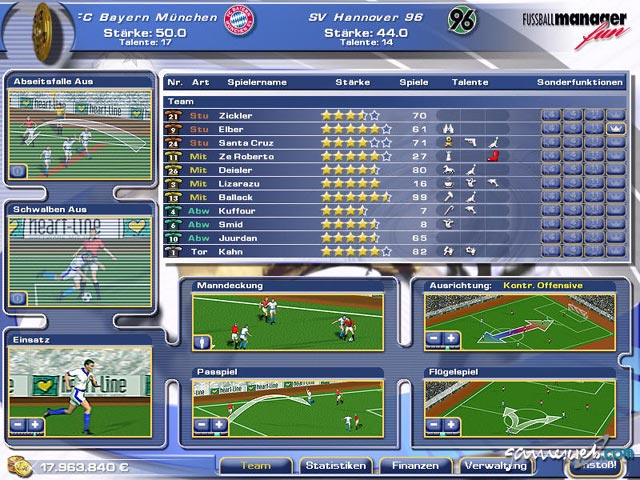 Fussballmanager Spiel