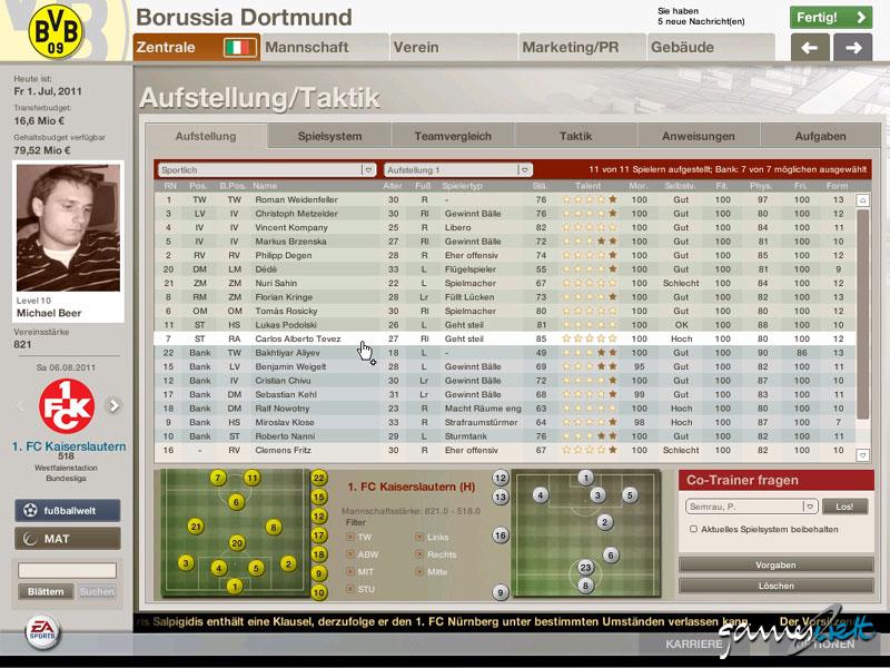Fussball Manager 06 Fussball Manager 06 Die Aufstellung