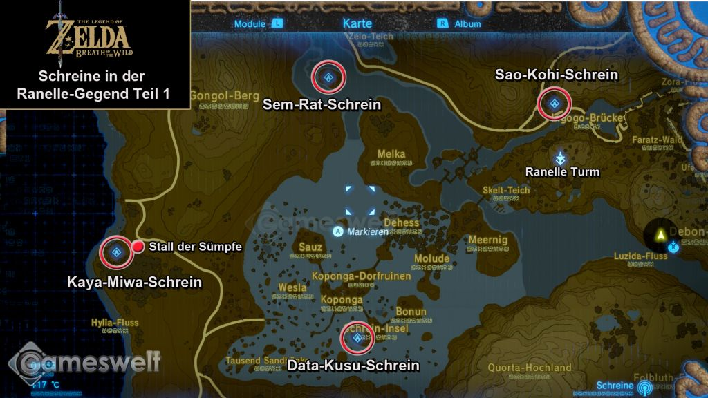 Breath Of The Wild Schreine Karte.The Legend Of Zelda Breath Of The Wild Komplettlösung Rezepte